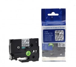 ETİKETİM - Muadil Brother P-Touch TZ-tape 18mm Etiket Şeffaf-Siyah 18AZE141