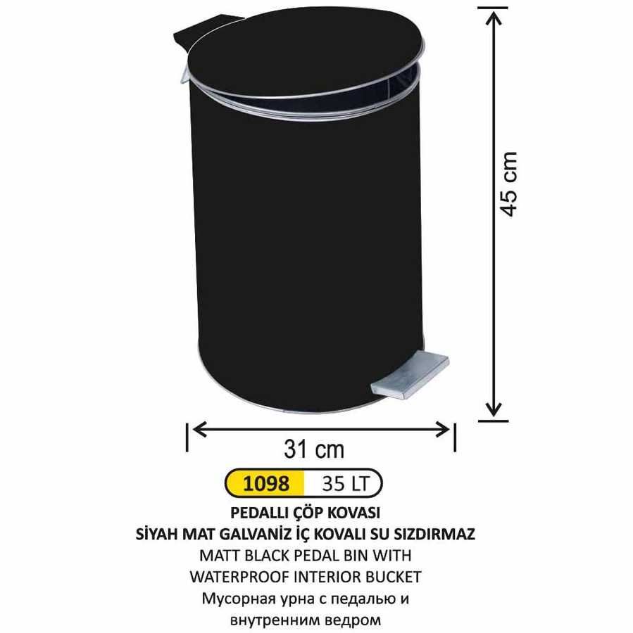 Arı Metal Pedallı Çöp Kovası Mat Siyah 35lt 1098