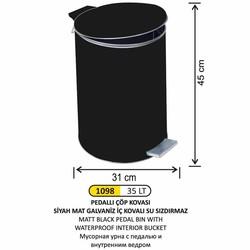 ARI METAL - Arı Metal Pedallı Çöp Kovası Mat Siyah 35lt 1098