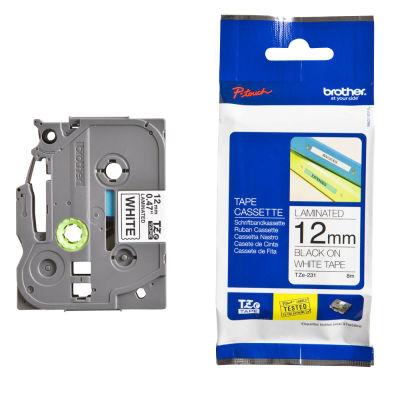 Brother P-Touch TZ-tape 12mm Beyaz-Siyah Etiket 12TZE231