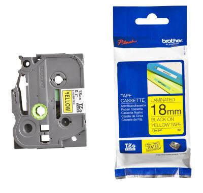 Brother P-Touch TZ-tape 18mm Sarı-Siyah Etiket 18TZE641