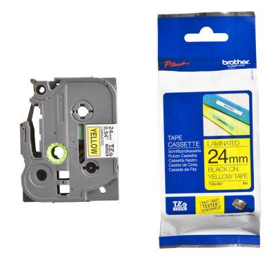 Brother P-Touch TZ-tape 24mm Sarı-Siyah Etiket 24TZE-651