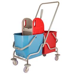 Ceymop Çift Kovalı Temizlik Seti Krom Taşıyıcılı Metal Presli