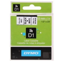 Dymo - Dymo D1 Yedek Şerit 12mmx7m Beyaz/Siyah 45013