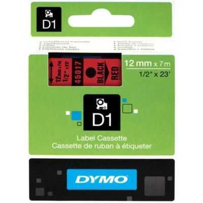 Dymo D1 Yedek Şerit 12mmx7m Kırmızı/Siyah 45017