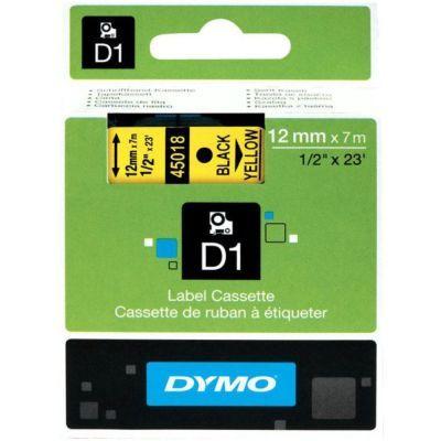Dymo D1 Yedek Şerit 12mmx7m Sarı/Siyah 45018