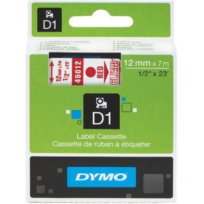Dymo D1 Yedek Şerit 12mmx7m Şeffaf/Kırmızı 45012