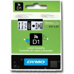 Dymo - Dymo D1 Yedek Şerit 19mmx7m Beyaz/Siyah 45803