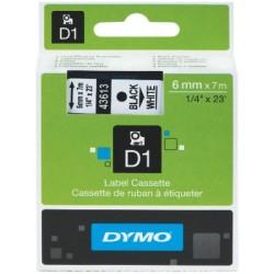 Dymo - Dymo D1 Yedek Şerit 6mmx7m Beyaz/Siyah 43613