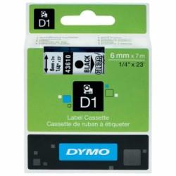 Dymo - Dymo D1 Yedek Şerit 6mmx7m Şeffaf/Siyah 43610