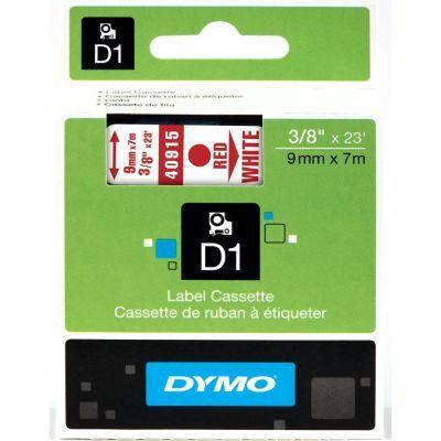 Dymo D1 Yedek Şerit 9mmx7m Beyaz/Kırmızı 40915