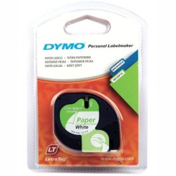 Dymo LetraTag Kağıt Şerit Beyaz 12mmx4m - Thumbnail