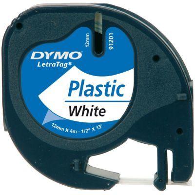 Dymo LetraTag Plastik Şerit Beyaz 12mmx4m