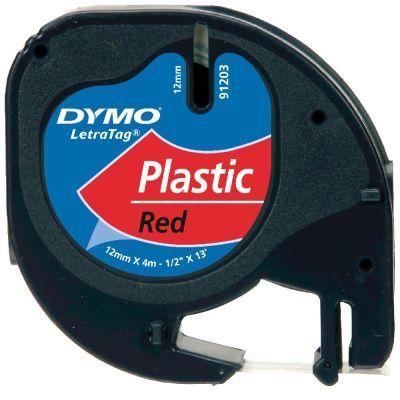 Dymo LetraTag Plastik Şerit Kırmızı 12mmx4m