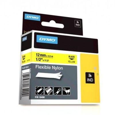 Dymo RhinoPro Esnek Naylon Serit 12mmx3.5m Sarı/Siyah 18490
