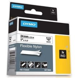 Dymo - Dymo RhinoPro Esnek Naylon Şerit 24mmx3.5m Beyaz/Siyah 1734524