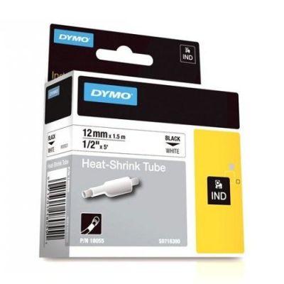 Dymo RhinoPro Isıyla Küçülen Şerit 12mmx1.5m Beyaz/Siyah 18055