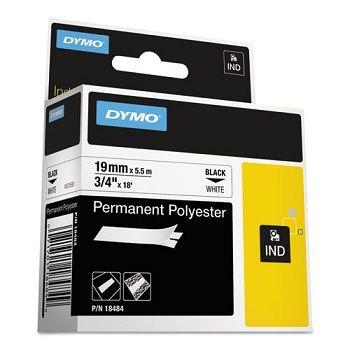 Dymo RhinoPro Sabit Polyester Şerit 19mmx 5.5m Beyaz/Siyah 18484