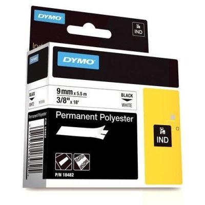 Dymo RhinoPro SabitPolyester Şerit 9mmx5.5m Beyaz/Siyah 18482