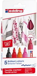 Edding - Edding 4500 Kumaş Boyama Kalemi Sıcak Renkler 5li