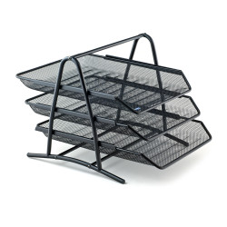 Kraf - Kraf Perfore Evrak Rafı Metal 3 Katlı Siyah