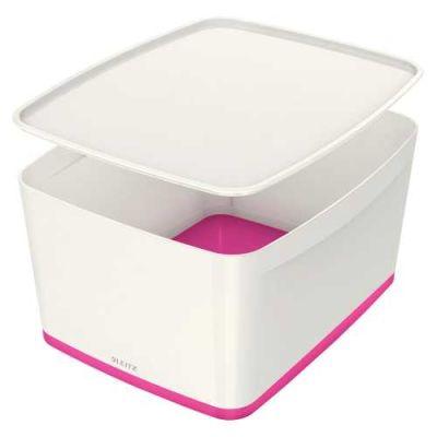 Leitz MyBox Kapaklı Geniş Saklama Kutusu Pembe Beyaz