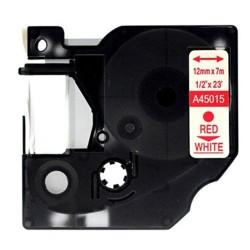 Etiketim - Muadil D1 45015 Yedek Şerit 12mmx7m Beyaz/Kırmızı