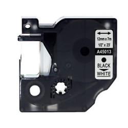 Etiketim - Muadil D1 Yedek Şerit 12mmx7m Beyaz/Siyah 45013
