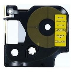 Etiketim - Muadil D1 Yedek Şerit 12mmx7m Sarı/Siyah 45018