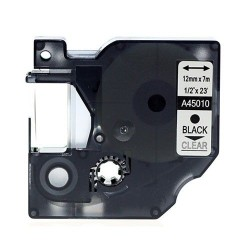 Etiketim - Muadil D1 Yedek Şerit 12mmx7m Şeffaf/Siyah 45010