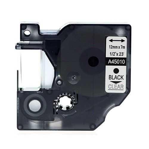 Muadil D1 Yedek Şerit 12mmx7m Şeffaf/Siyah 45010