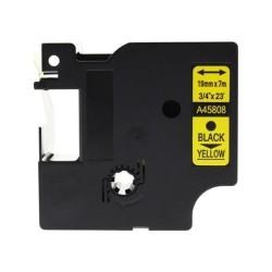 Etiketim - Muadil D1 Yedek Şerit 19mmx7m Sarı/Siyah 45808