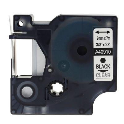 Muadil D1 Yedek Şerit 9mmx7m Şeffaf/Siyah 40910