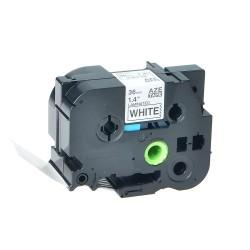 Etiketim - Muadil P-Touch 36AZE261 Beyaz-Siyah TZ-tape 36mm Etiket