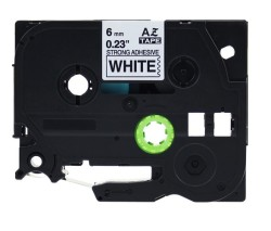 Etiketim - Muadil P-Touch 6AZE211 Beyaz-Siyah TZ-tape 6mm Etiket