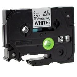 Etiketim - Muadil P-Touch 9AZE-221 Beyaz-Siyah TZ-tape 9mm Etiket