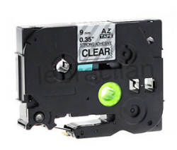 Etiketim - Muadil P-Touch 9AZE121 Şeffaf-Siyah TZ-tape 9mm Etiket