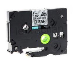ETİKETİM - Muadil P-Touch 9AZE121 Şeffaf-Siyah TZ-tape 9mm Etiket