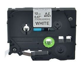 Muadil P-Touch TZ-tape 12mm Etiket Beyaz-Siyah 12AZE231