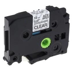 Etiketim - Muadil P-Touch TZ-tape 12mm Etiket Şeffaf-Siyah 12AZE131