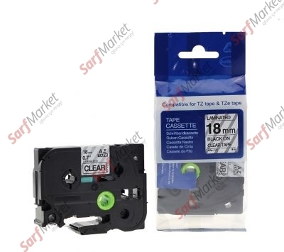 Muadil P-Touch TZ-tape 18mm Etiket Şeffaf-Siyah 18AZE141