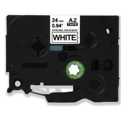 Etiketim - Muadil P-Touch TZ-tape 24mm Etiket Şeffaf-Siyah 24AZE151