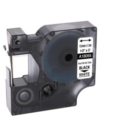Etiketim - Muadil RhinoPro Isıyla Küçülen Şerit 12mmx1.5m Beyaz/Siyah 18055