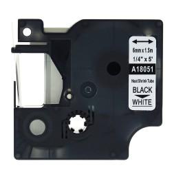 Etiketim - Muadil Rhinopro Isıyla Küçülen Serit 6mmx1.5m Beyaz/Siyah 18051