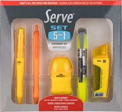 Serve - Serve Kırtasiye Seti 5li 0.7mm Sarı