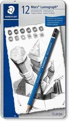 Staedtler - Staedtler 100 G12 Mars Lumograph Kurşun Kalem 12li Metal Kutuda