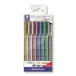 Staedtler Metalik Markör 6 Renk + Siyah Pigment Liner 8323-SWP6P - Thumbnail