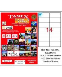 Tanex - Tanex Laser Etiket 105mmx41mm TW-2114