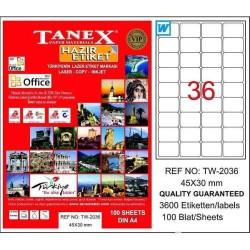 Tanex - Tanex Laser Etiket 45mmx30mm TW-2036