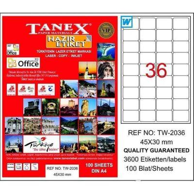 Tanex Laser Etiket 45mmx30mm TW-2036